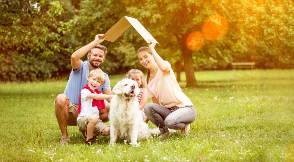 Familie mit Pappdach über dem Kopf sitzt auf sonniger Wiese